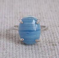 Кольцо с голубым агатом 19 размера. Кольцо с сапфирином