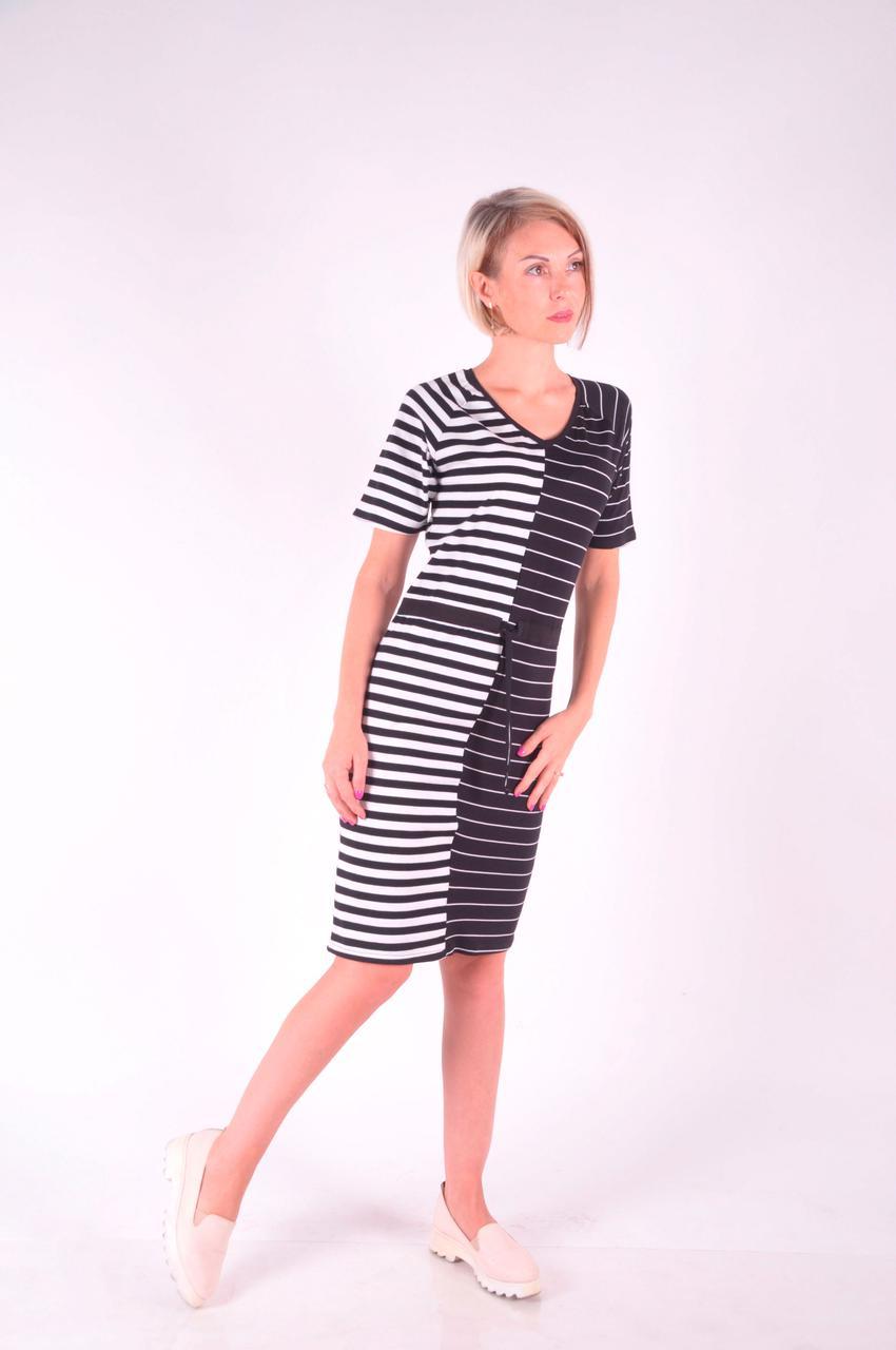 Женское летнее  платье в полоску трикотажное размеры  40-46