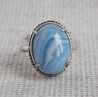 Кольцо с голубым агатом 18 размера. Кольцо с сапфирином
