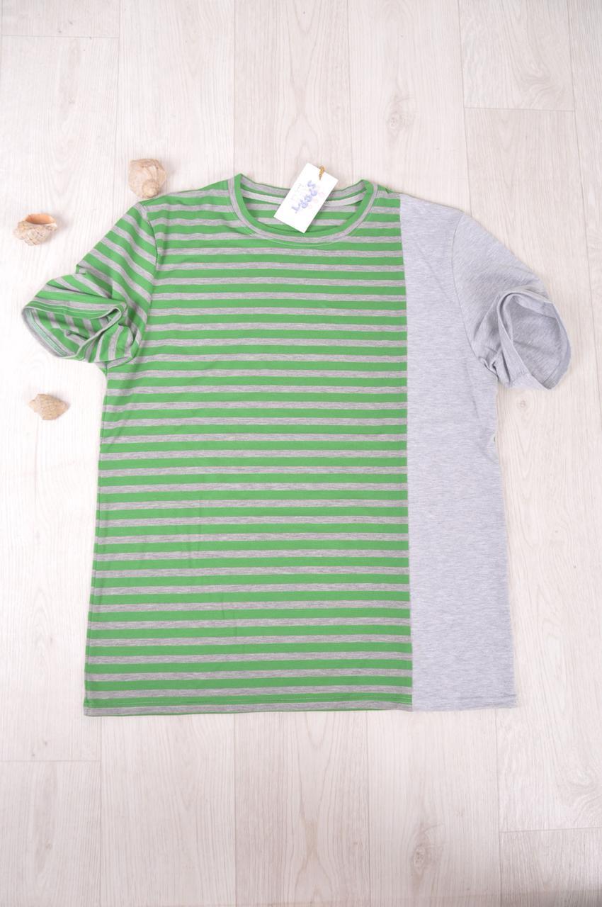 Футболка  мужская  зеленая  в полоску размеры 48-52