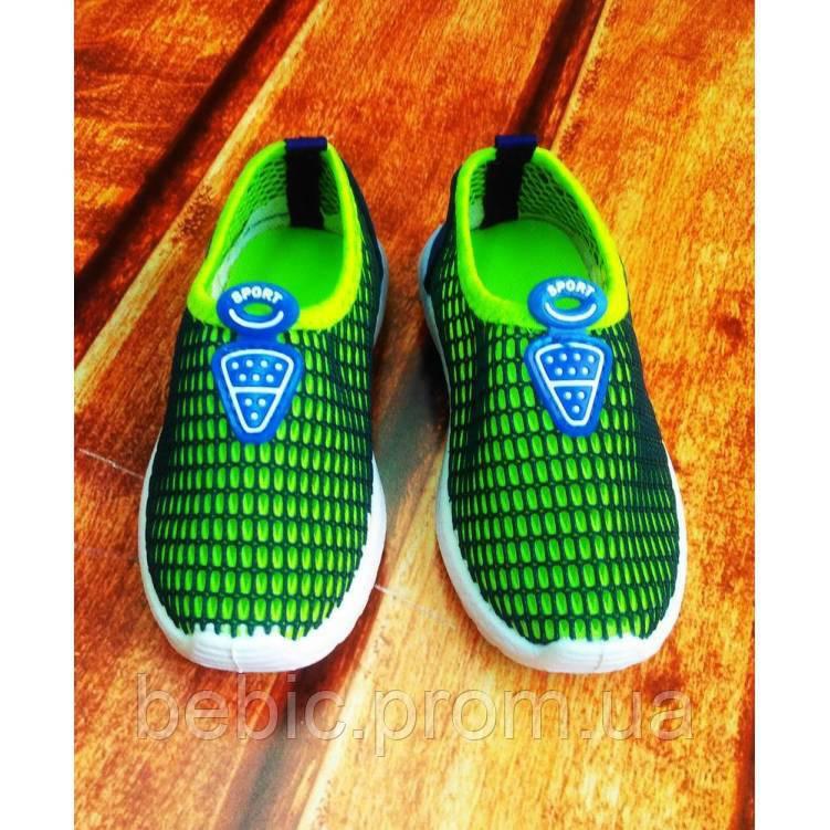 Кроссовки детские сеточка сине-зеленые Размер:21, 22