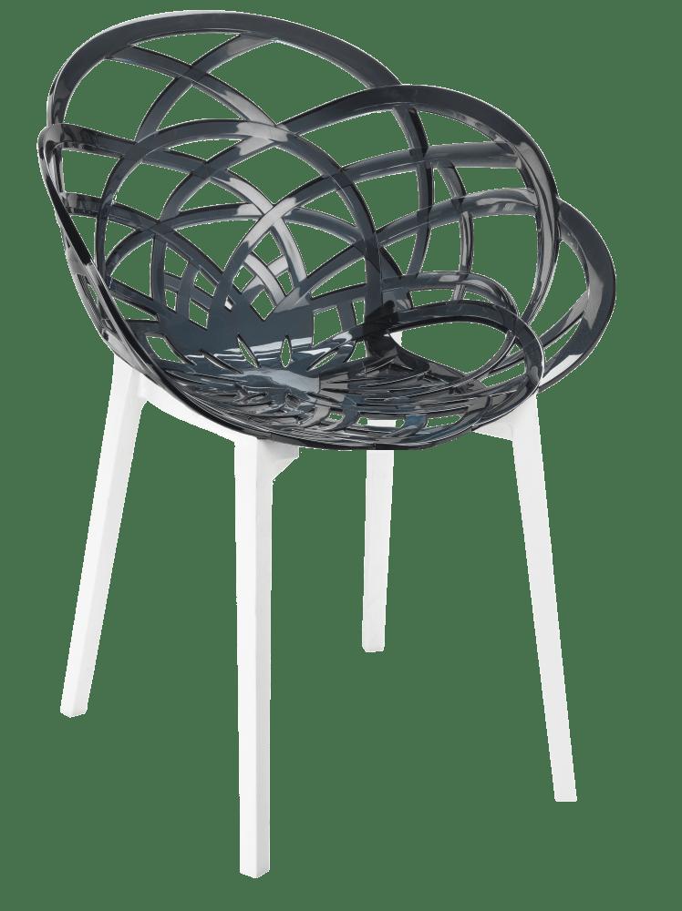 Кресло Papatya Flora прозрачно-дымчатое сиденье, низ белый
