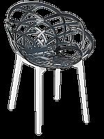 Кресло Papatya Flora прозрачно-дымчатое сиденье, низ белый, фото 1