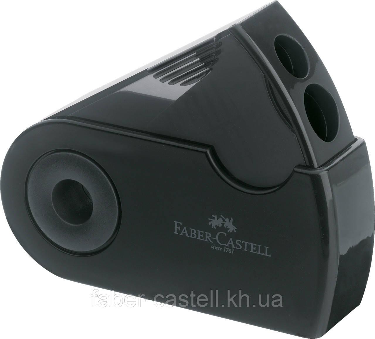Двойная точилка Faber-Castell Sleeve  с контейнером черная, 182700