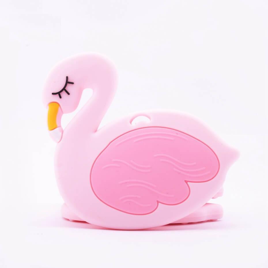 Фламинго (роза кварц) прорезыватель из силикона