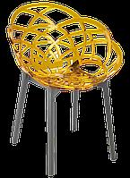 Кресло Papatya Flora прозрачно-желтое сиденье, низ антрацит, фото 1