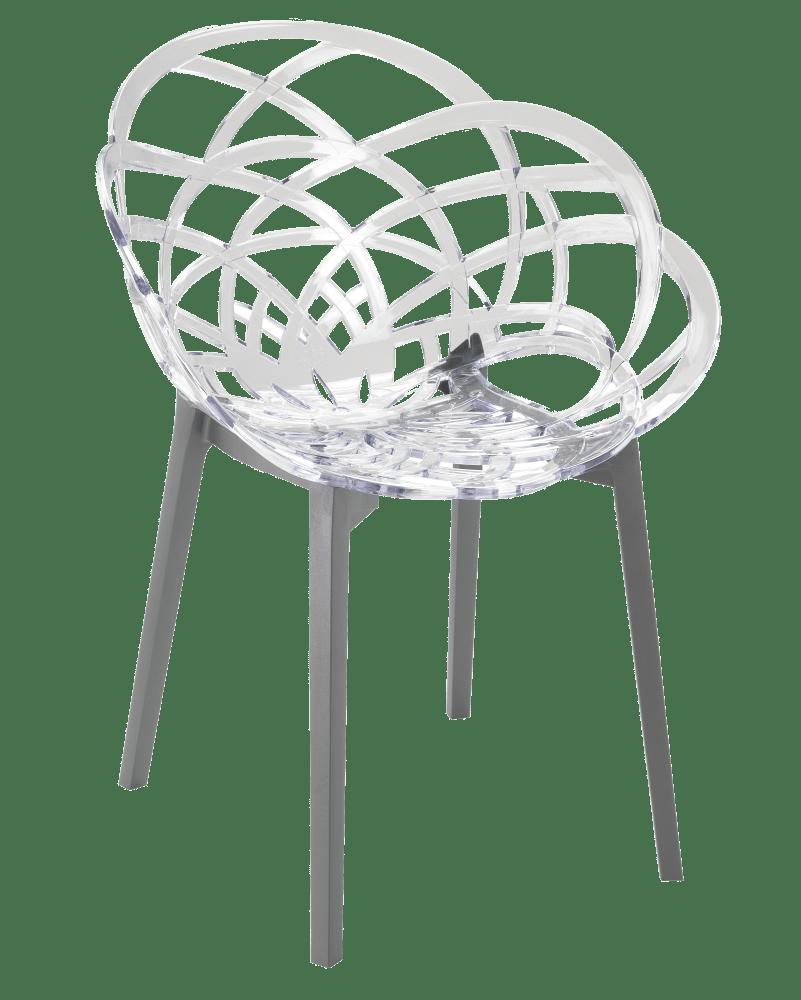 Крісло Papatya Flora прозоро-чисте сидіння, низ антрацит