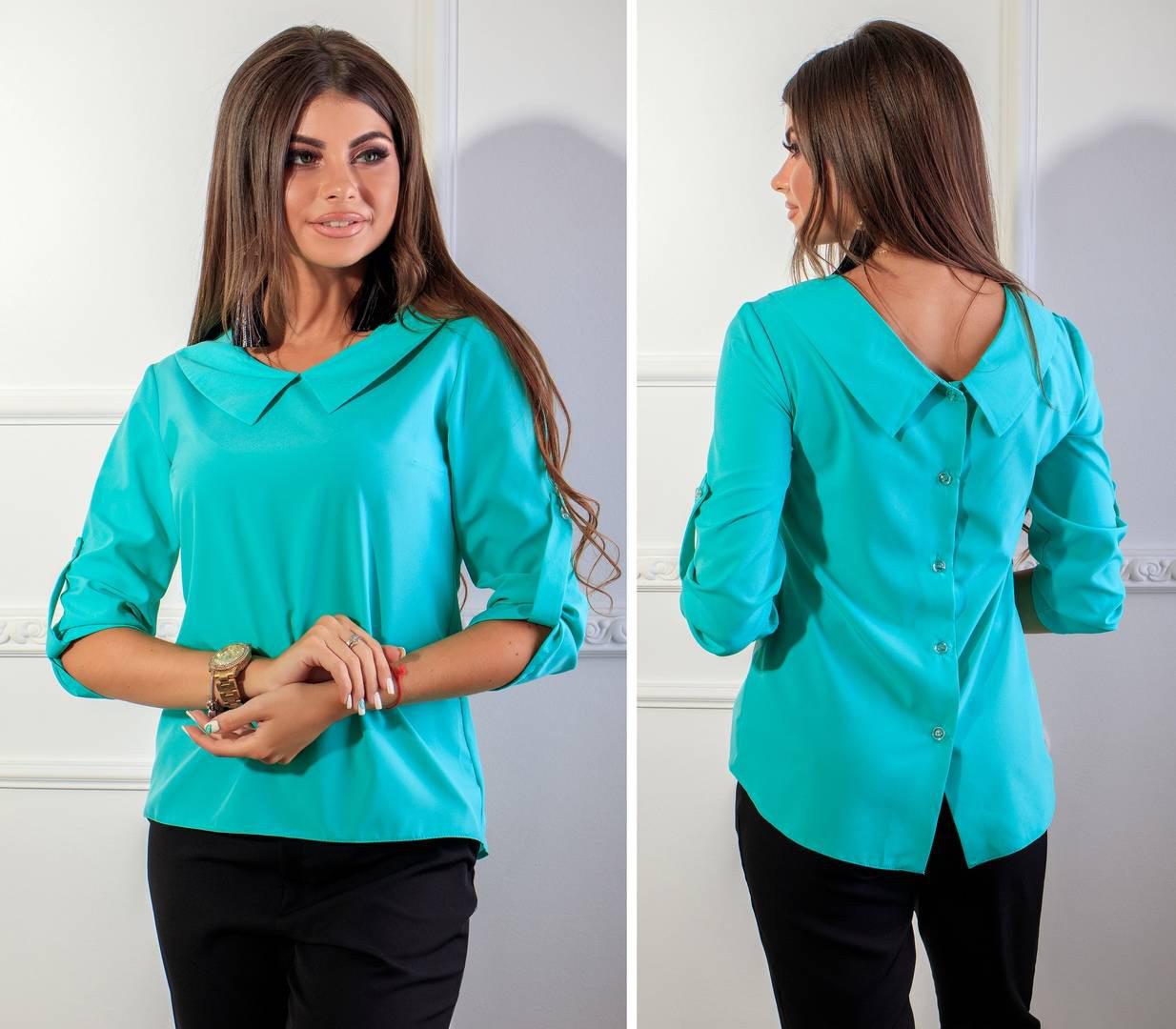 Блуза жіноча з гудзиками на спині, модель 116, колір - бірюза
