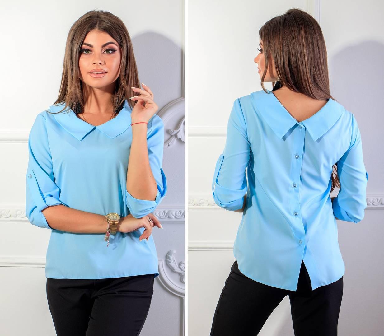 Блуза женская с пуговицами на спине, модель 116, цвет - голубой, 40,42,46