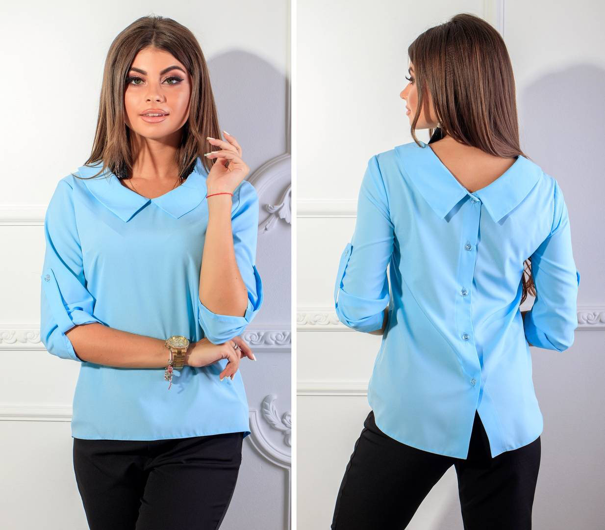 Блуза жіноча з гудзиками на спині, модель 116, колір - блакитний