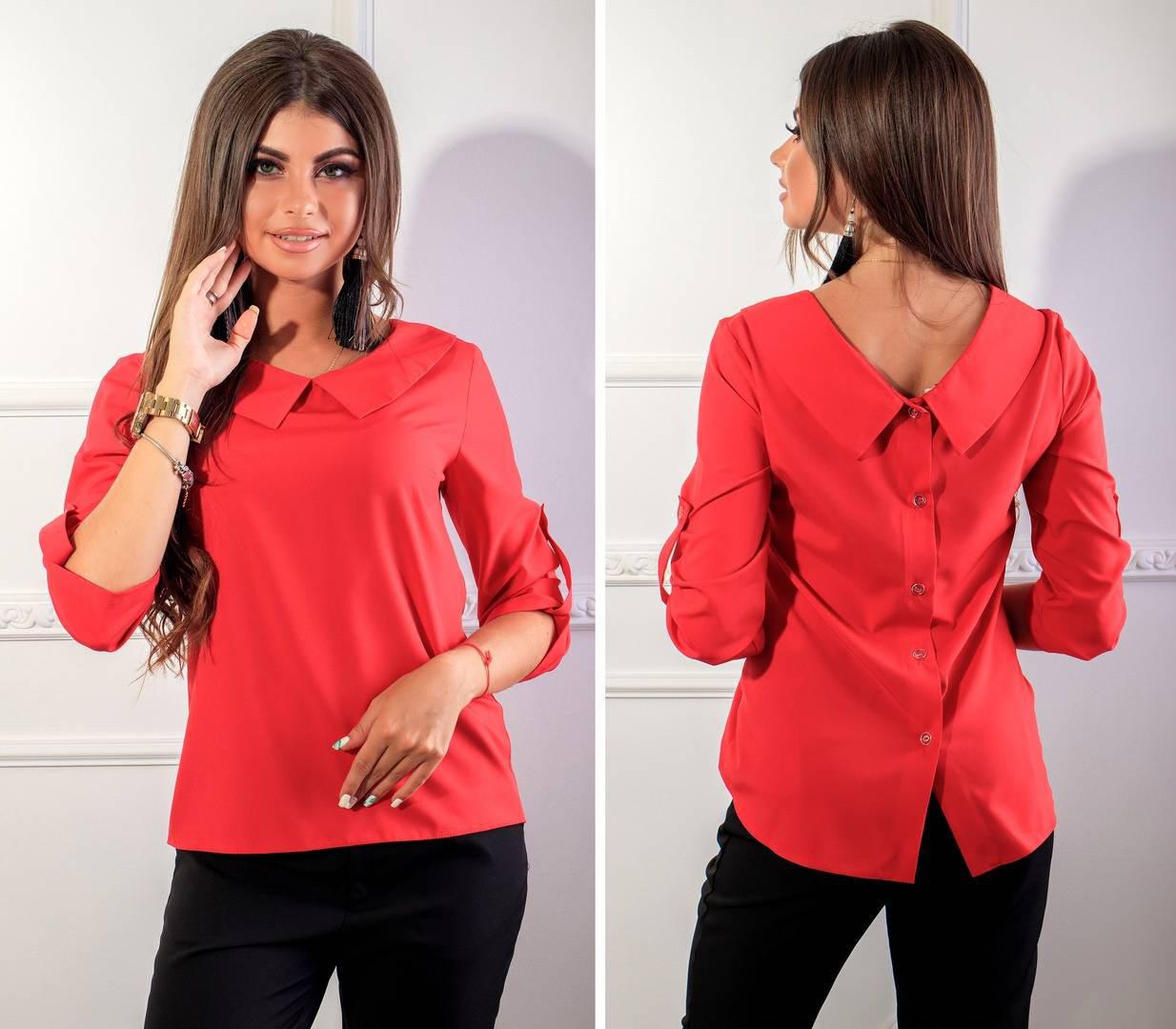 Блуза женская с пуговицами на спине, модель 116, цвет - красный, 40 размер