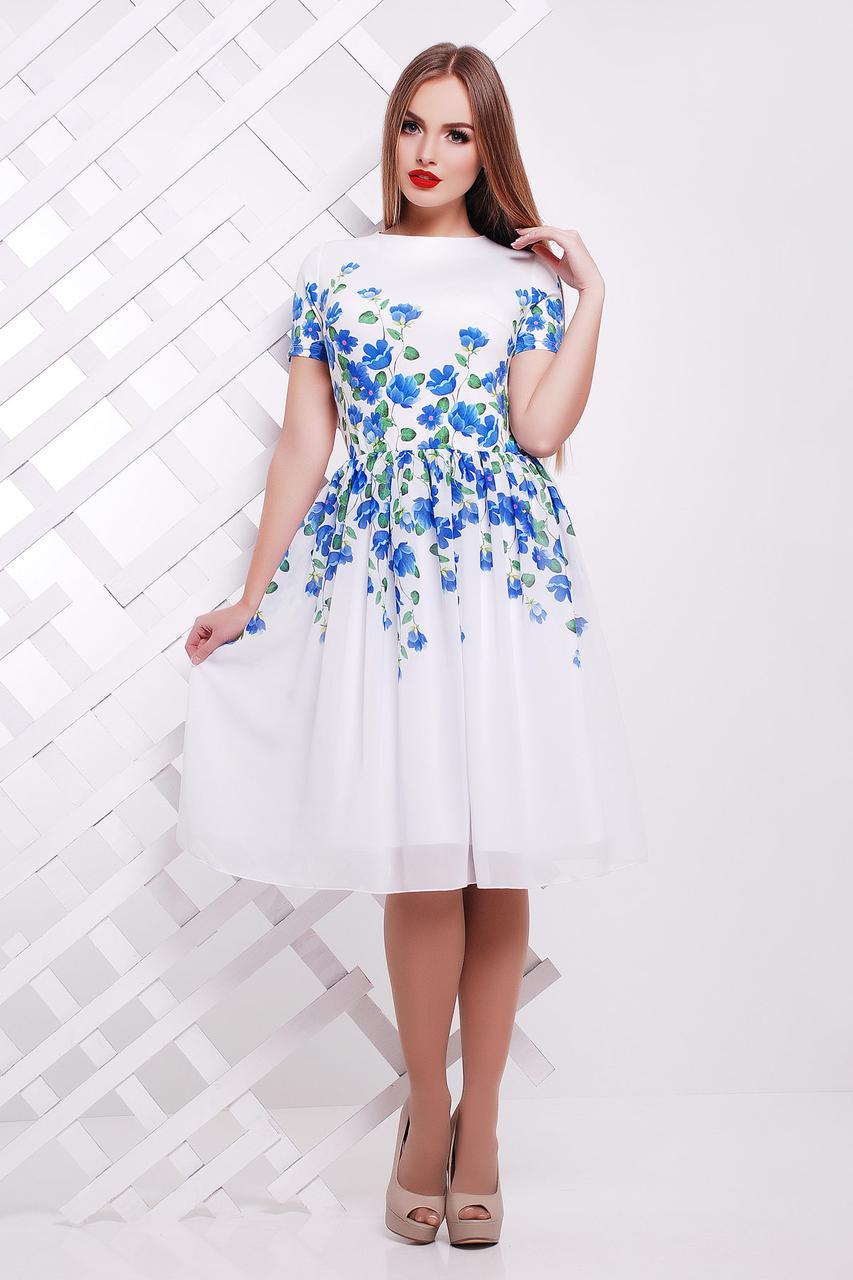 86f2b869e05 Легкое нежное белое платье с синими цветами р.S