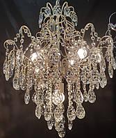 Классическая хрустальная люстра на цепи на 6 ламп молочный цвет с потертостью, фото 1