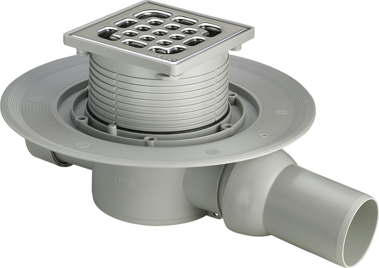 Трап для ванной VIEGA 557140 ф50, нержавейка,150х150, горизонтальный с сифоном