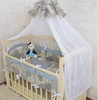 """Постельное белье для детской кроватки """"Серденько-7"""" Поплин, с защитой на бортики (серый)"""