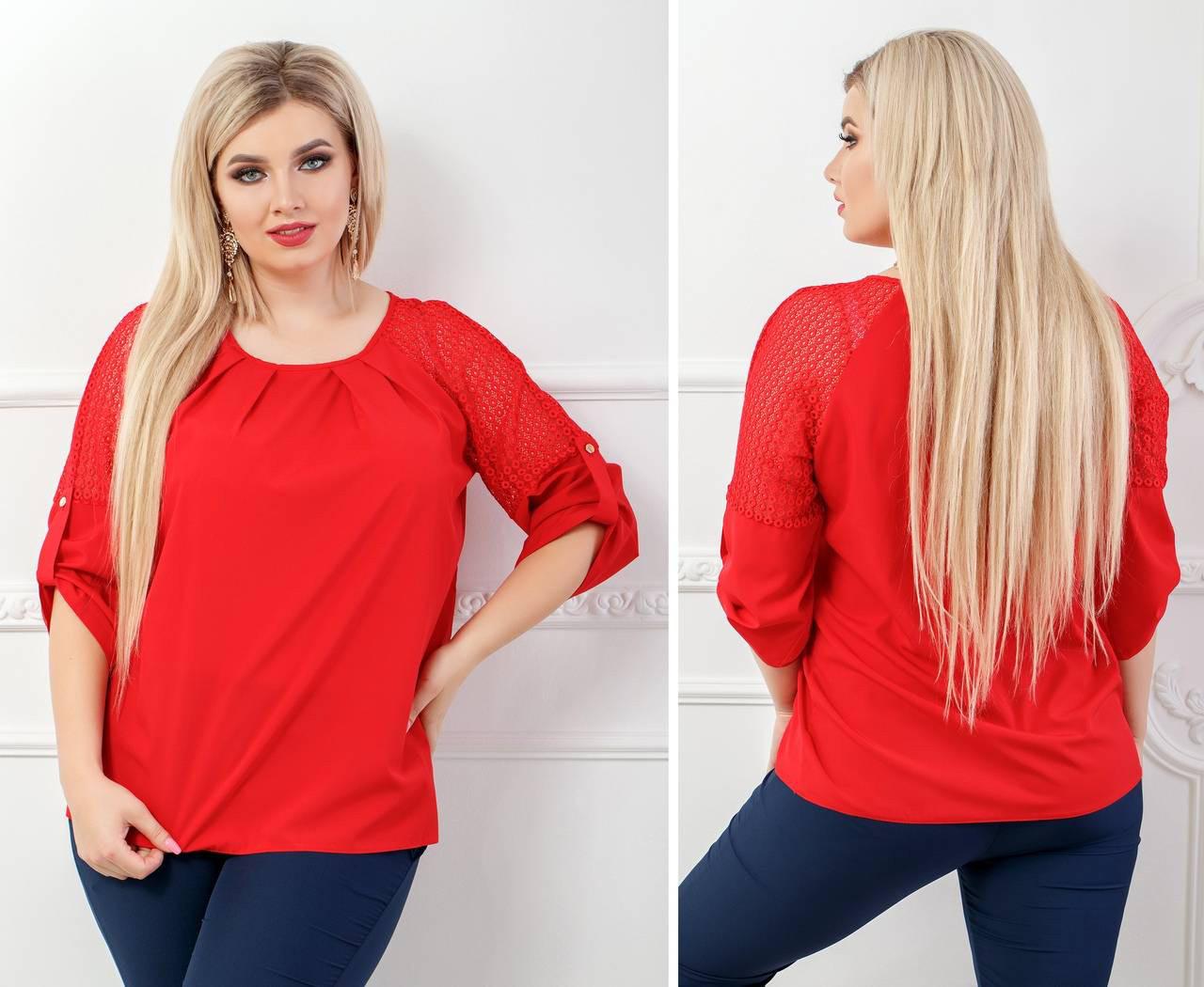 Блуза женская с кружевными вставками, бенгалин, новинка 2018, модель 117/2 батал, цвет - красный