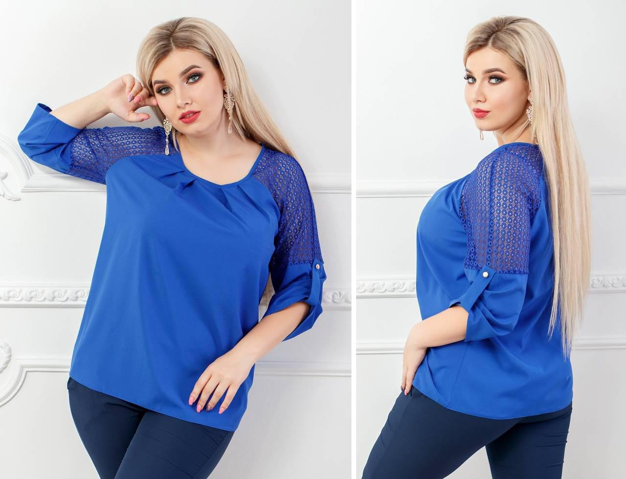 Блуза женская с кружевными вставками, бенгалин, модель 117/2 батал, цвет - электрик