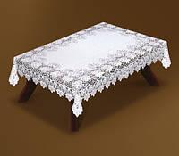 Ажурная скатерть 220*140 белого цвета  на прямоугольный стол