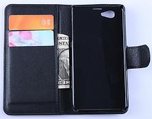 Кожаный чехол-книжка для Sony Xperia Z1 Compact d5503 коричневый, фото 3