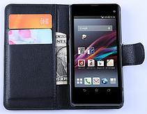 Кожаный чехол-книжка для Sony Xperia Z1 Compact d5503 коричневый, фото 2