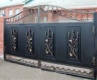 Кованые ворота с цветами