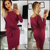 Бордовое платье с поясом Erika (Код 159 )