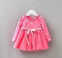 Платье Горошек фатином (роз) 80,90,95