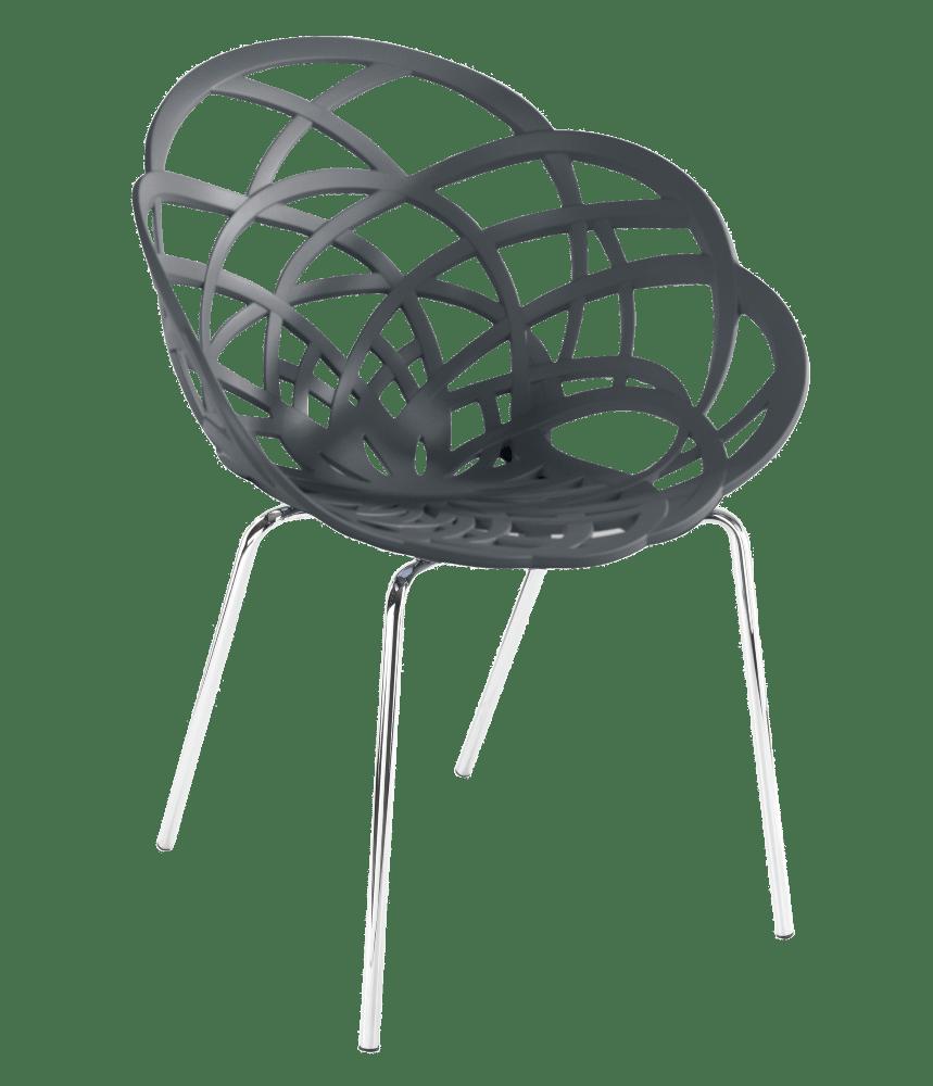 Крісло Papatya Flora-ML матовий антрацит сидіння, ніжки хром