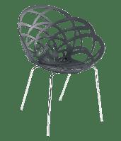 Крісло Papatya Flora-ML матовий антрацит сидіння, ніжки хром, фото 1