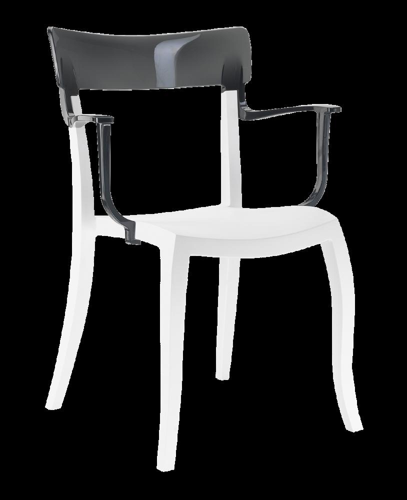 Крісло Papatya Hera-K біле сидіння, верх прозоро-димчастий