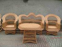 """Набор плетеной мебели со столом """"По кругу"""". Комплект плетеной мебели из лозы"""