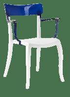 Кресло Papatya Hera-K белое сиденье, верх прозрачно-синий, фото 1