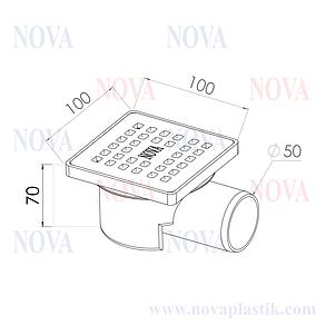 Трап сантехнический Nova 100x100 мм боковой, фото 2