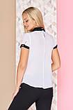 Блуза з подвійним двоколірним коміром 40-52р, фото 2