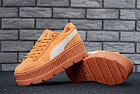 """Кроссовки женские замшевые Puma x Fenty Cleated Creeper Platform Suede Orange  """"Оранжевые"""" р.36-40, фото 1"""