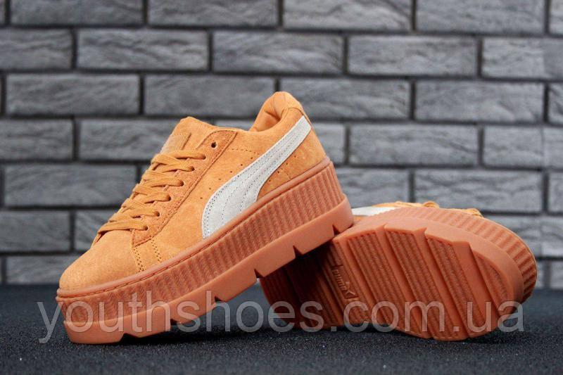 uk availability 89df7 5ea52 Кроссовки женские замшевые Puma x Fenty Cleated Creeper Platform Suede  Orange