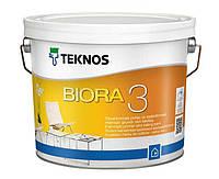 Матовая краска для грунтовки и потолков (тара 2,7 л) Teknos Biora 3