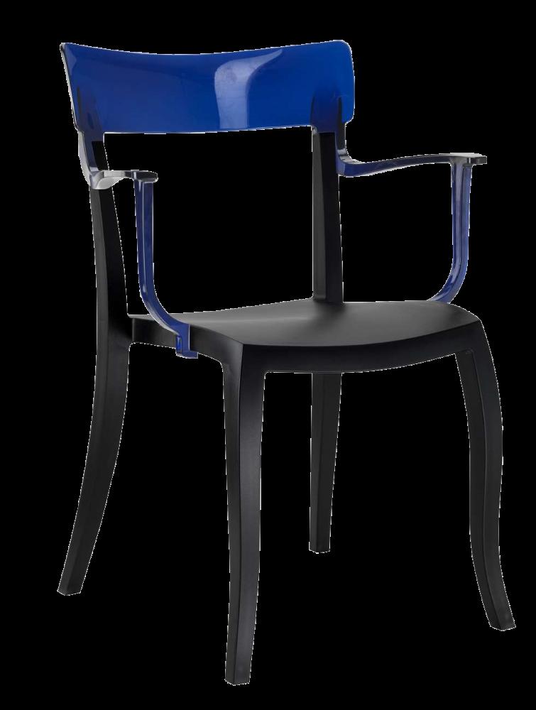 Крісло Papatya Hera-K чорне сидіння, верх прозоро-синій