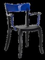 Крісло Papatya Hera-K чорне сидіння, верх прозоро-синій, фото 1