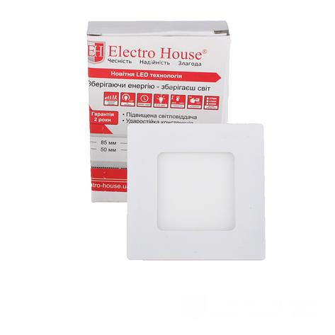 ElectroHouse LED панель квадратная 3W 4100К 270Lm 85х85мм, фото 2