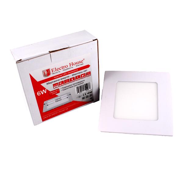 Панель LED ElectroHouse квадратная 6W 120х120мм