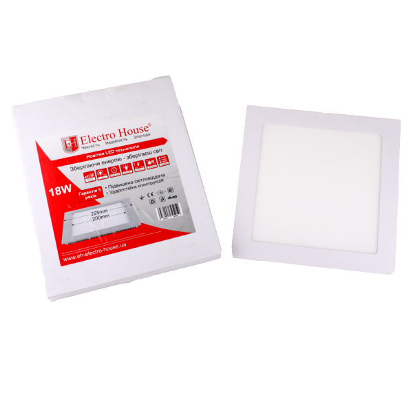 Панель LED ElectroHouse квадратная 18W 225х225мм