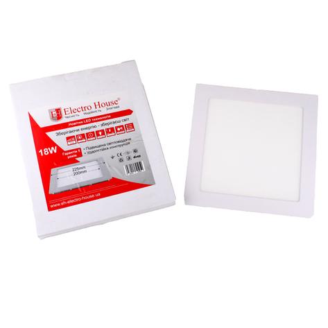 Панель LED ElectroHouse квадратная 18W 225х225мм, фото 2