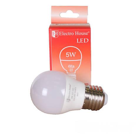 Светодиодная лампа ElectroHouse LED E27 G45 5W, фото 2