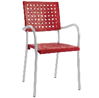 Кресло Papatya Karea красный, база алюминий, фото 1