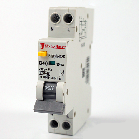 ElectroHouse ДИФ Автомат 40А 1P+N(1 модуль) 30mA 6kA  230-240V  IP20, фото 2