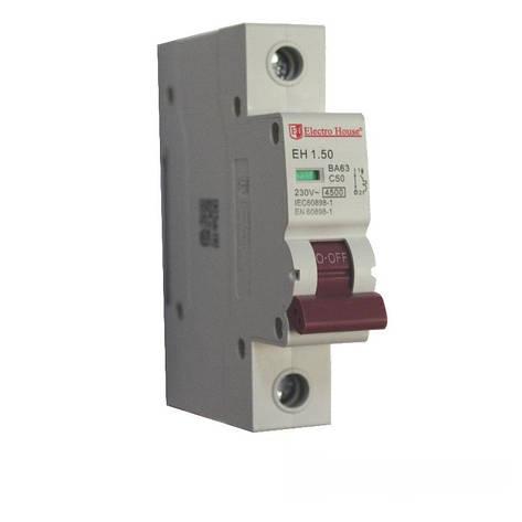 ElectroHouse Автоматический выключатель 1P 50A 4,5kA 230-400V IP20, фото 2