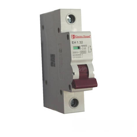 ElectroHouse Автоматический выключатель 1P 32A 4,5kA 230-400V IP20, фото 2