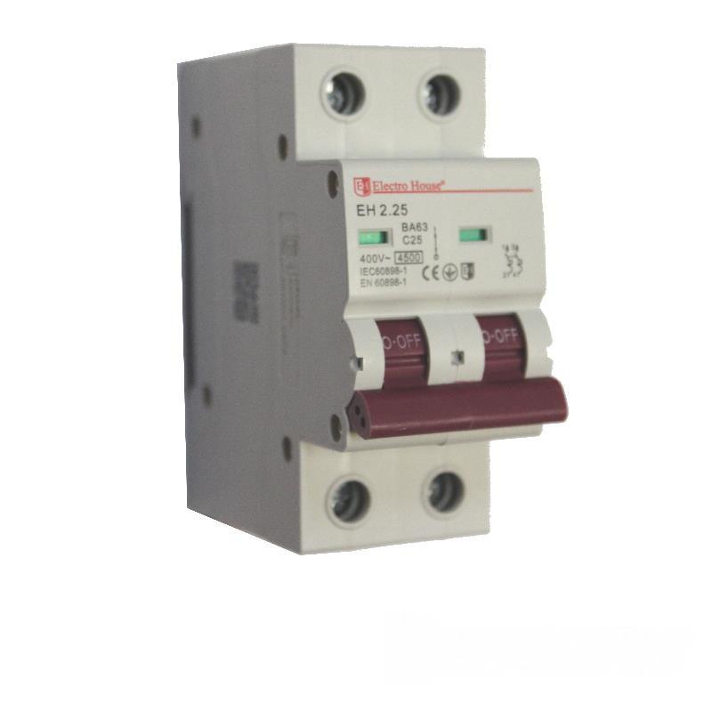 ElectroHouse Автоматический выключатель 2P 25A 6kA 230-400V IP20