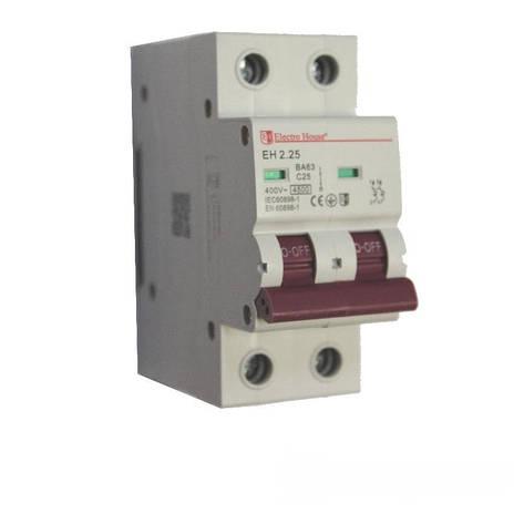 ElectroHouse Автоматический выключатель 2P 25A 6kA 230-400V IP20, фото 2